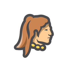 american indian man icon cartoon vector image