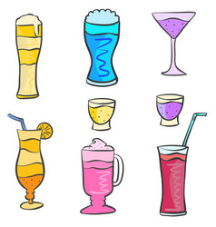 Art drink set various doodles vector