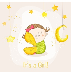 Baby Girl Sleeping with a Pillow - Baby Shower vector
