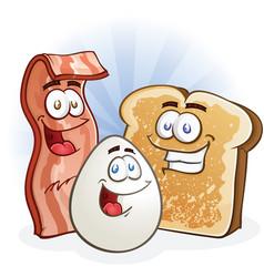 Bacon egg and toast cartoon breakfast characters vector