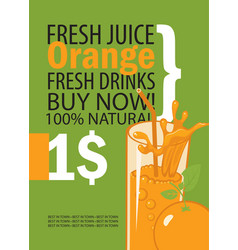 banner with orange and a glass juice vector image