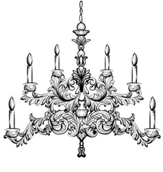 Baroque chandelier luxury decor accessory design vector