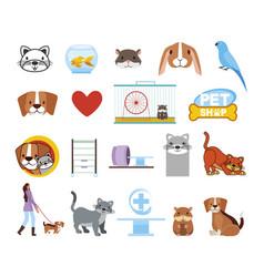 bundle pet shop icons vector image