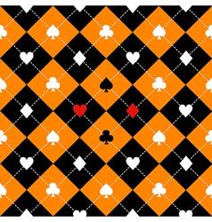 Card suits orange black diamond background vector