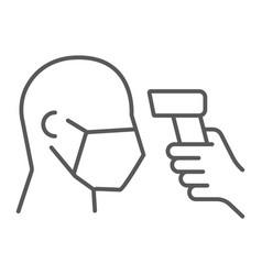 Checking body temperature thin line icon vector