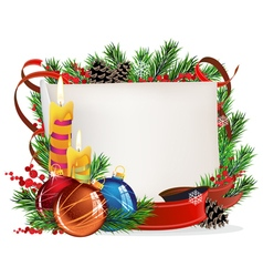 Christmas wreath with baubles and candles vector