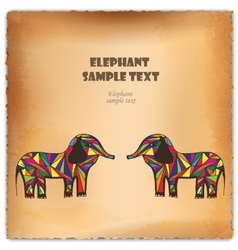 colorful hand-drawn elephant on parchment vector image