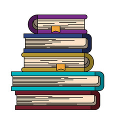 Colorful image of stack of books with bookmark vector