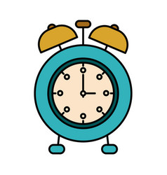 Colorful silhouette image alarm clock vector