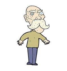 comic cartoon angry old man vector image