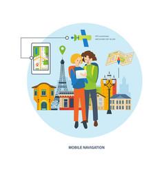 Concept - travel mobile navigation vector