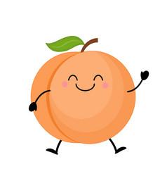 cute cartoon peach kawaii peach vector image