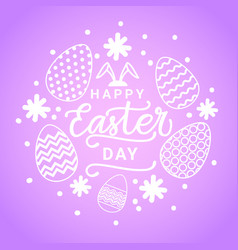 cute happy easter day card with white eggs on vector image