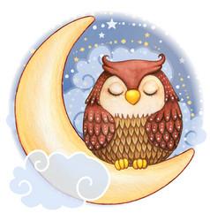 Cute watercolor owl sleeping on moon vector