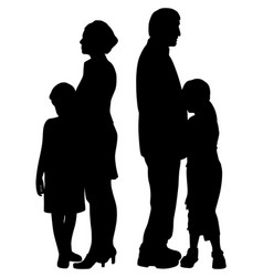 Divorced separated parents with sad separated kids vector