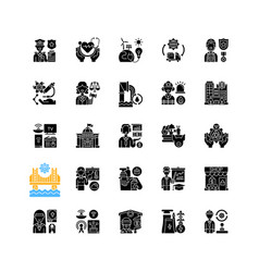 Essential services black glyph icons set on white vector