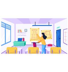Female teacher at school for seamstresses explains vector
