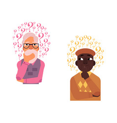 flat old african caucasian men thinking vector image