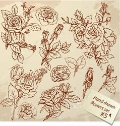 Flower set handdrawn 5 380 vector