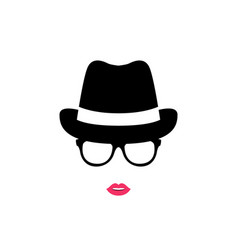 girl in a hat and glasses vector image