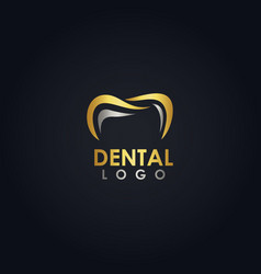 gold dental logo vector image