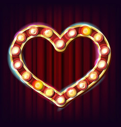 golden heart frame electric glowing vector image