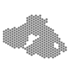 Gray hexagon greek lesbos island map vector