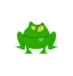 Green toad simple cartoon Freaky frog logo vector