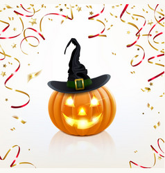 halloween pumpkin with golden confetti vector image