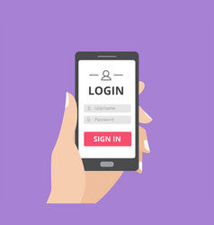 Hand holding smart phone with user login form page vector