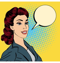 Happy Businesswoman Bubble for Expression Pop Art vector