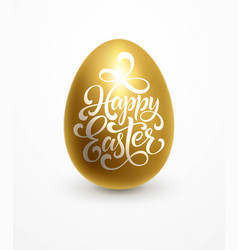 happy easter lettering on golden egg vector image