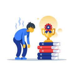 hard working male student successful education vector image