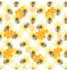 honey jar seamless pattern with bee sketch vector image