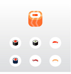 icon flat maki set of salmon rolls sushi eating vector image