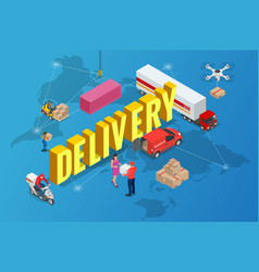 isometric delivery concept delivery of goods from vector image