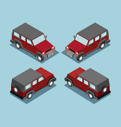 isometric safari off road car isometric suv red vector image