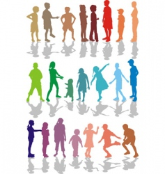 kids color silhouettes vector image
