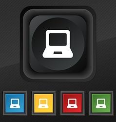 Laptop icon symbol Set of five colorful stylish vector image