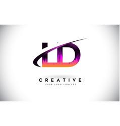 Ld l d grunge letter logo with purple vibrant vector