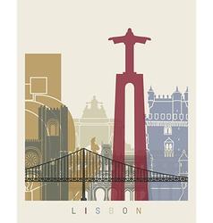 Lisbon skyline poster vector image