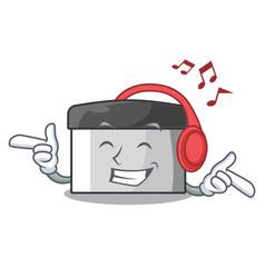 Listening music pastry scraper on wooden mascot vector