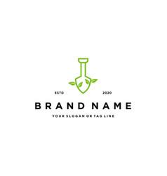 Logo design shovel and leaf vector