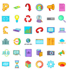 marketing and business icons set cartoon style vector image
