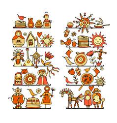 maslenitsa or shrovetide icons set for your vector image