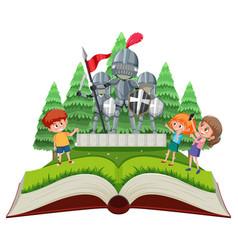 Medieval open book theme vector