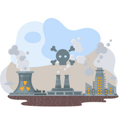 Mills and factories polluting environment vector