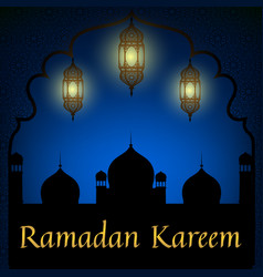 Mosque and lanterns vector