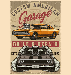 Muscle cars custom garage colorful poster vector