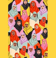 muslim women in hijab arab girl in coolor vector image